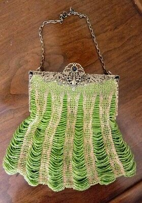 Stunning Antique RARE Lime Green Glass Beaded Purse Superb MINT Condition!