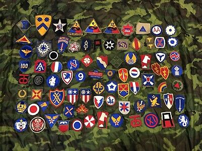 WW2 Era US Army Cut Edge Patch Lot, WWII-1950s, 80 Patches Total, SSI
