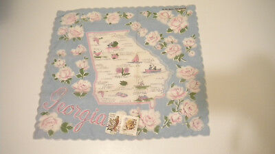Vintage GEORGIA HANKIE w/ A GEORGIA Postage Stamp On It