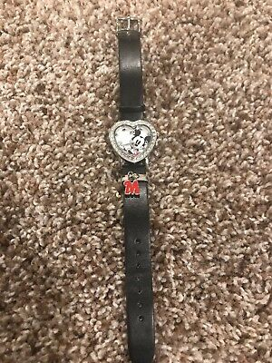 Women's Mickey Mouse Heart Shaped Watch With Black Strap