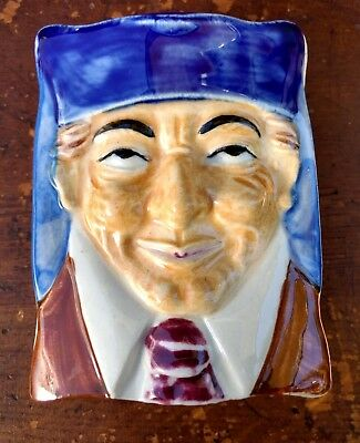 "Cigarette Box 3D ""Toby Mug Style Face"" w Cover Figural Vintage ""Wales China"""