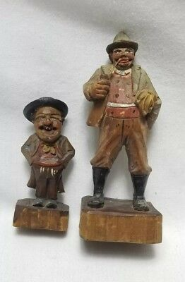 Vintage Folk Art Carved Wooden Man Pair Smoking Man Happy Rich Man