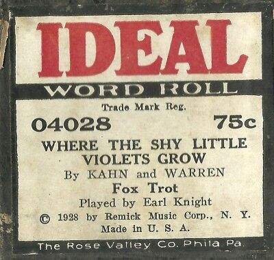 Where the Shy Little Violets Grow, PB Earl Knight Ideal 04028 Piano Roll Orig