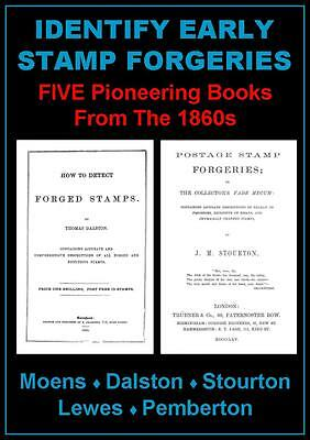 IDENTIFY EARLY FORGED STAMPS: 5 Books 203pp Fake Imitation Forgery - CD