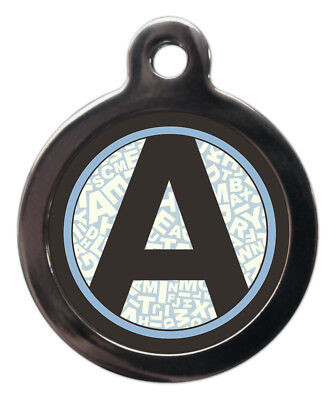 Pet ID tag Initial A-Z Blue Letters Background