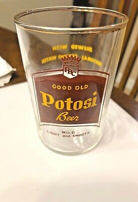 Vintage Rare A.c.l. Potosi Brewery Shell Glass Variation W/ Gold Rim Wisconsin