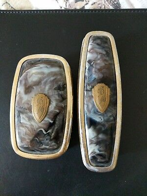 Pair Of Antique Faux Tortoiseshell Clothes Brushes. Monogrammed  Brushes.