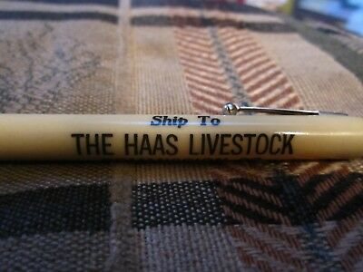 Extra long Advertising Bullet pencil for Haas Livestock of So. St. Paul Mn