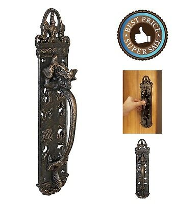 Cast Iron Gothic Decor Solid Door Handle Push Plate 12-Inch