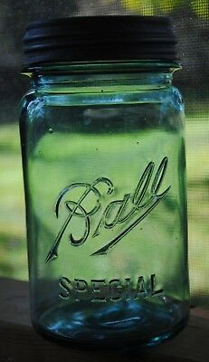 Vintage 1912~1923 BALL SPECIAL WIDE~MOUTH BLUE QUART Canning Jar w/ Ball Lid #9