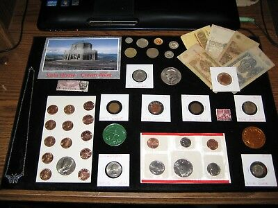 Coin Lot Collection+junk drawer US Mint Set Old Coins IKE Dollar Indian Penny