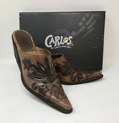 CARLOS SANTANA Rodeo Havana Brown Leather Pointed Toe Western Mule Clog size 8M