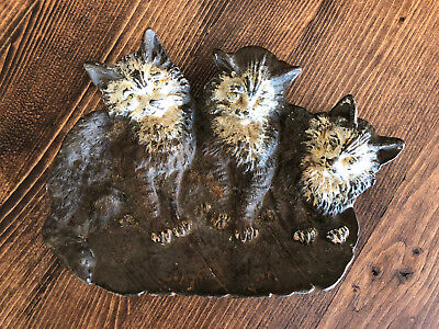 Antique Bradley Hubbard Authentic Cast Iron Cat Kitten Card Tray