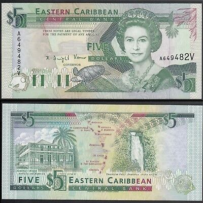 East Caribbean States /St. Vincent 5 Dollars, ND 1993, P.26V Uncirculated Unc