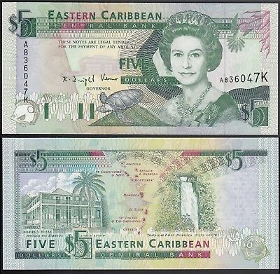 East Caribbean States /St. Kitts 5 Dollars, ND 1993, P.26K Uncirculated Unc