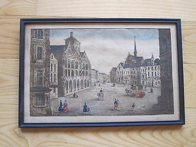 Antique Early 19Th C 1800's France Engraving L'hotel De Ville De St Quentin Rare