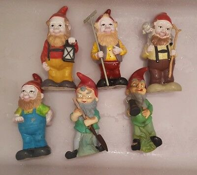 Lot Of 6 Large Vintage Gnomes Must See Hard Plastic/rubber Garden