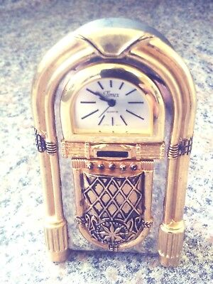 Timex Collectible Gold Tone Beautifully Detailed Jukebox Miniature Clock