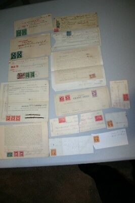 Group of 19th and early 20th century documents with revenue stamps.