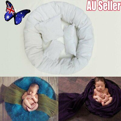 4PCS Newborn Baby Photography Pillow Basket Filler Wheat Donut Posing Props NW