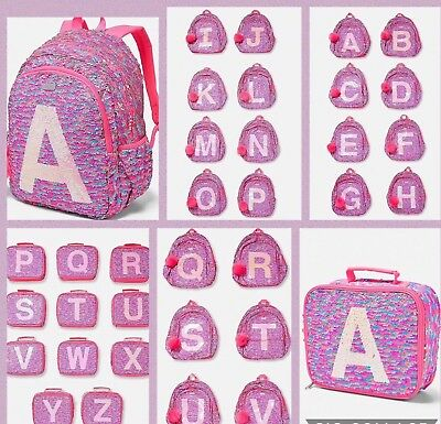 """Justice Girls Flip Sequin Initial Backpack and Lunch Tote Set New """"K, M, T"""