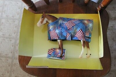 Breyer Traditional Size Model Horse Chestnut Pinto Mare With Fireworks Blanket