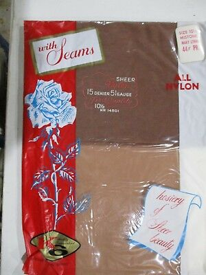 1Pr Vintage Unbranded 15D Seamed Full Fashion Nylon Stockings Size 10 1/2M Beige