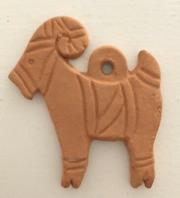 "SHIPS FREE! Terra-cotta GOAT ornament, primitive style, 40 years old? 2.75"" high"