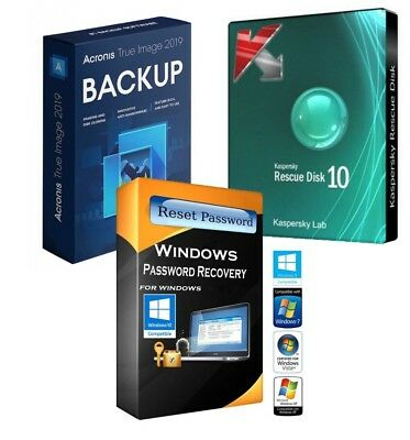 Kaspersky Rescue & Password Remover & Acronis 2019 True Image on 2GB Flash Drive
