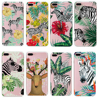 1Pcs Zebra Leaves Silicone Soft For iPhone Transparent Banana Hot Shell Plant