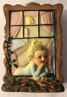 Japan 1950's Wall Pocket - Little Blonde Haired Girl Looking Out Bedroom Window
