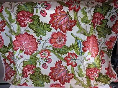 Vintage Upholstery Fabric Gabrielle Cie Floral 2 Yards, Red, Orange, Pink!