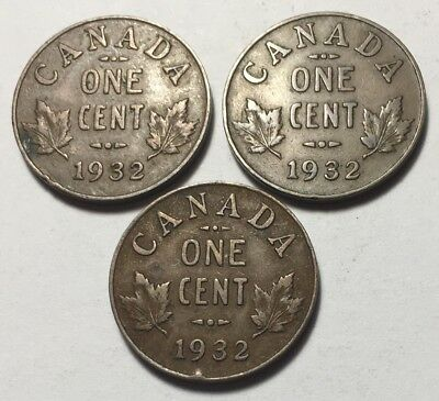 Lot of 3 - Canada 1932 One Cent Coins - King George V