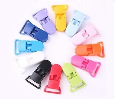 5pcs Colored Plastic Suspender Soother Pacifier Holder Dummy Clips For Baby New