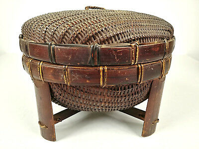 ANTIQUE Chinese Sewing Basket Betty-Lou Collection Footed Domed csb 125