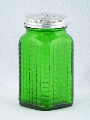 Owens Illinois Green Waffle Pattern Depression Glass Salt Shaker