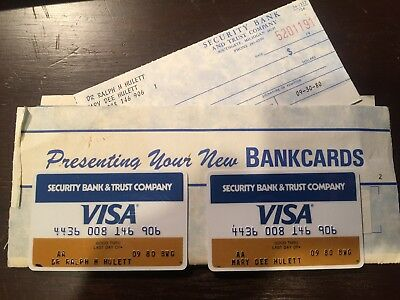 Pair Of Expired Void Vintage Visa Cards Unsigned With Mailer And Checks