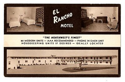 Williston N. D. Postcard El Rancho Motel Multiview Interior Room Exterior #75217
