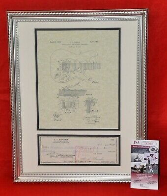Leo Fender Guitar Inventor Autographed Matted 1965 Check JSA Certificate COA #4