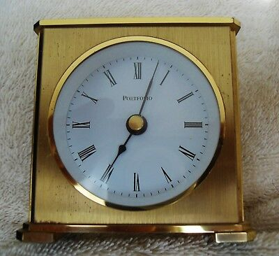 Vintage TIFFANY & CO Portfolio Brass Desk MANTEL Clock Quartz W.Germany