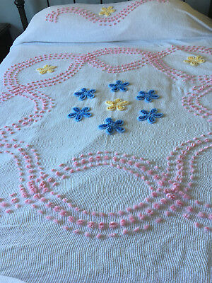 Lovely Vintage Cotton Chenille Bedspread-91 X 106