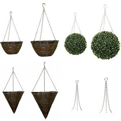 Natural Wicker Hanging Basket Round Coned Lind Rattan Willow Topiary Ball 2 Size
