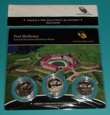 2013 Fort McHenry National Monument ATB Quarters Three(3)-Coin Set PDS mints