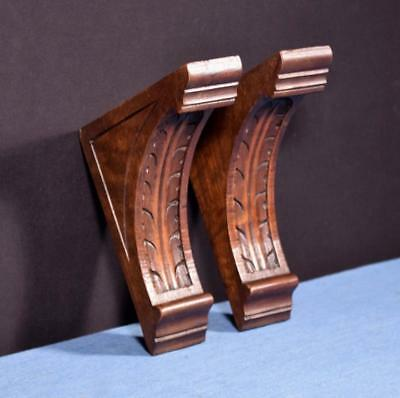 "*Pair of 7"" French Antique Corbels/Pillars/Brackets in Walnut Wood Salvage"