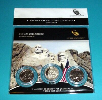 2013 Mount Rushmore National Memorial PDS mints ATB Quarters Three (3)-coin set