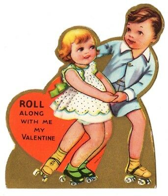 """Cute Boy And Girl Roller Skating Say """"roll Along With Me"""" / Vtg Valentine Card"""
