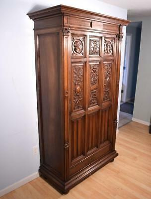 French Antique Gothic Revival Storage Cabinet/Armoire/Bonnetiere in Solid Walnut