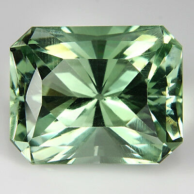 10.91Cts Outstanding Natural Green Amethyst (Prasiolite) Radiant Cut Brazil Gem