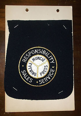 Vintage Salesman Sample Embroidery Patch Muncie Evening Press Indiana Newspaper