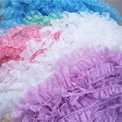 """10Yards Lace Trims Pleated Ribbon DIY Doll Dress Home Deco 2.36"""" Width"""